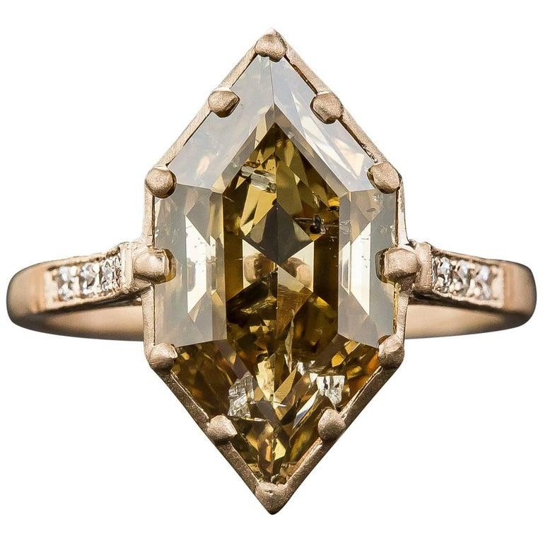 GIA Report 3.43 Carat Natural Brown Hexagonal Diamond Ring