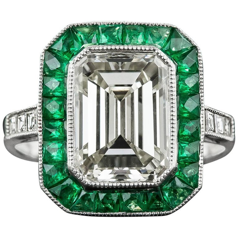 3.00 Carat Emerald-Cut Diamond Emerald Calibre Halo Ring 1