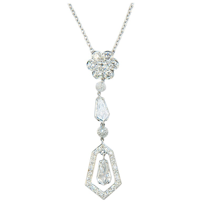 Laura Munder Diamond Drop White Gold Pendant