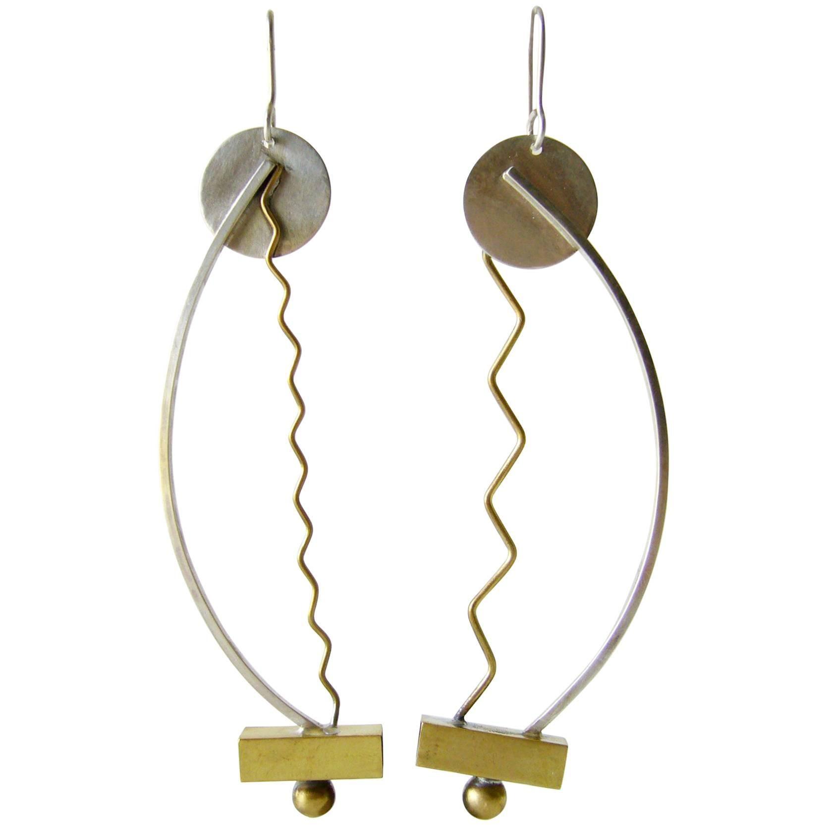 Heidi Abrahamson Sterling Brass Squiggle Post Modernist Earrings