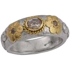 Treasure Rose Cut Diamond 18 Karat Gold & Silver Ring