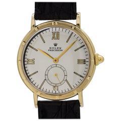 Rolex Yellow Gold Top Dress Model Manual Wind Wristwatch Ref 4325, circa 1950