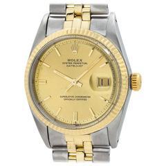 Rolex Yellow Gold Stainless Steel Datejust Self Winding Wristwatch, circa 1964