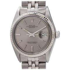 Rolex Stainless Steel Datejust Grey Pie Pan Dial Self Winding Wristwatch
