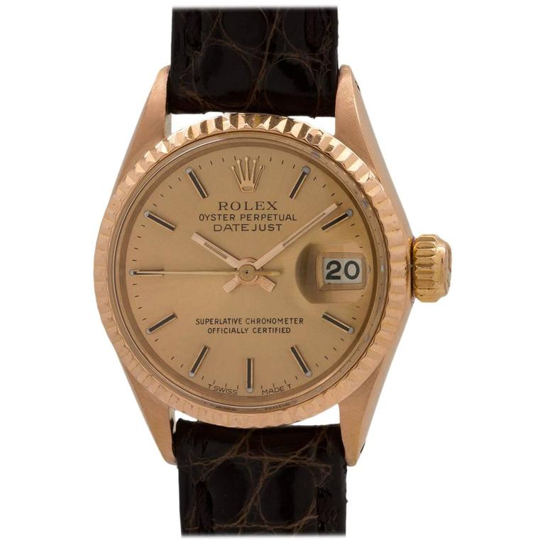 Rolex Ladies Rose Gold Datejust Self Winding Wristwatch Ref 6917, circa 1987
