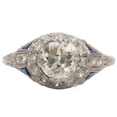 1900s Art Nouveau 1.35 Carat Diamond, Sapphire and Platinum Ring