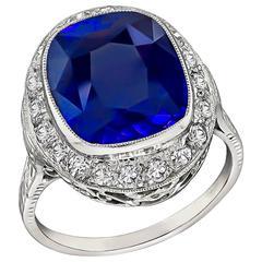 Art Deco 7.34 Carat Sapphire Diamond Platinum Ring