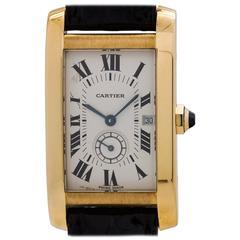 Cartier Ladies Yellow Gold Tank American Midsize Quartz Wristwatch, circa 2000