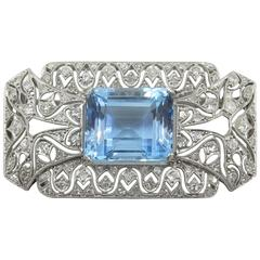 Art Deco Aquamarine Diamond Platinum Brooch