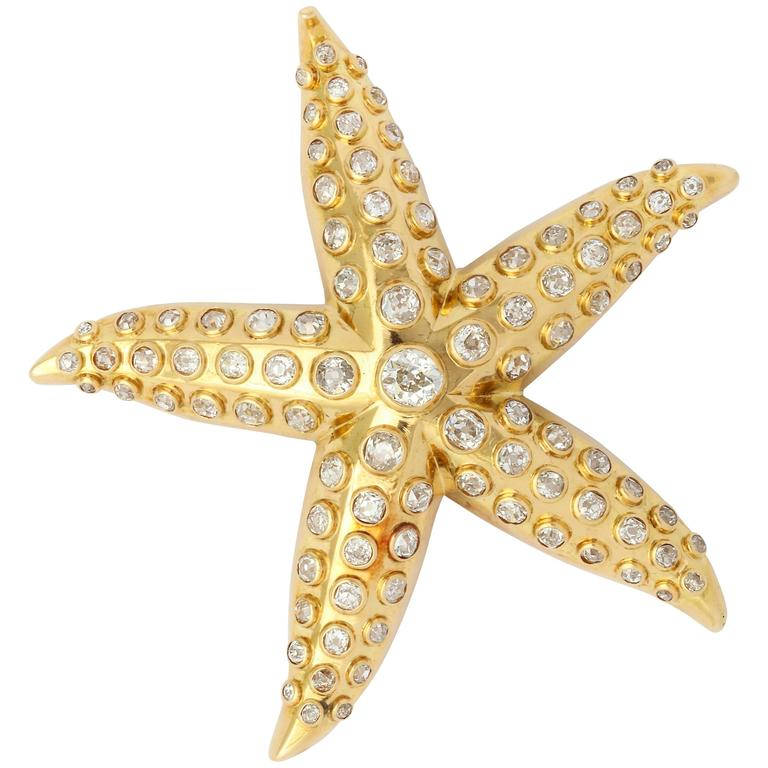 Rene Boivin Iconic Diamond Gold Starfish Brooch