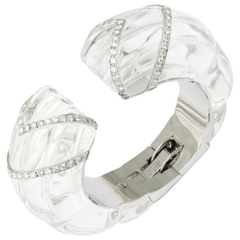 David Webb Rock Crystal Diamond Bangle Bracelet
