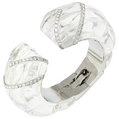 David Webb Rock Crystal Diamond Bangle Bracelet
