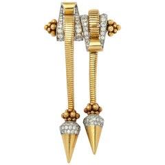 Boucheron Retro Diamond Gold Brooch