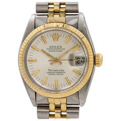 Rolex Tiffany & Co. Yellow Gold Stainless Steel Datejust Self Winding Wristwatch