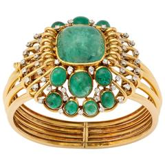 Mauboussin Retro Emerald and Diamond Bangle Bracelet