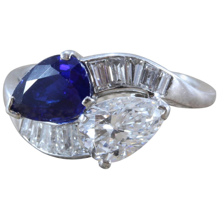 GIA Certified Diamond Sapphire Platinum Bypass Ring For Sale