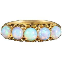 Antique Victorian Opal Gold Ring Natural Opal Blues, 1901