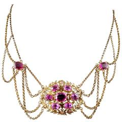 Early 19th Century Esclavage Multistrand Necklace with Pink Tourmalines