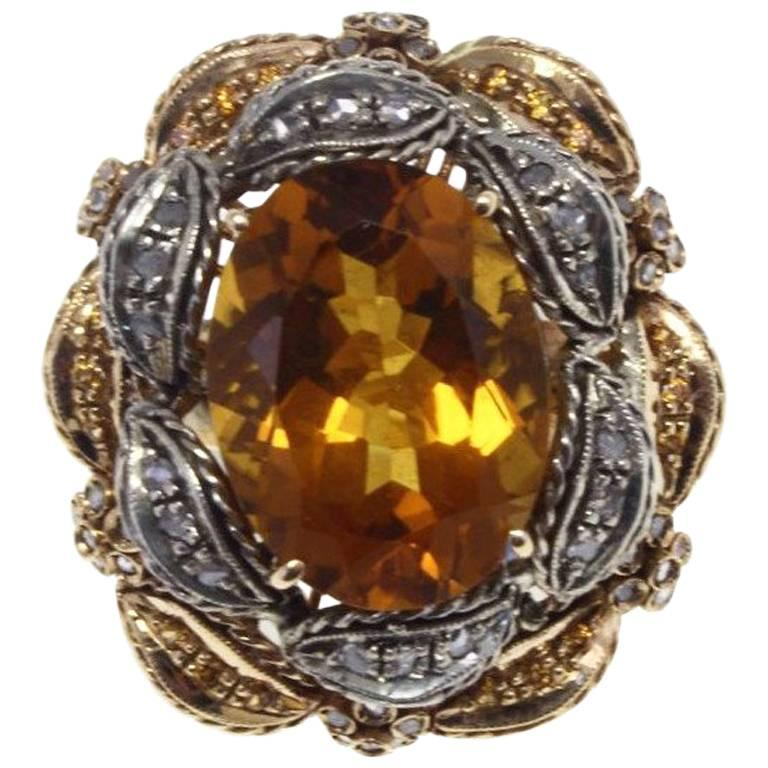 Topaz Diamond Silver Gold Cocktail Ring