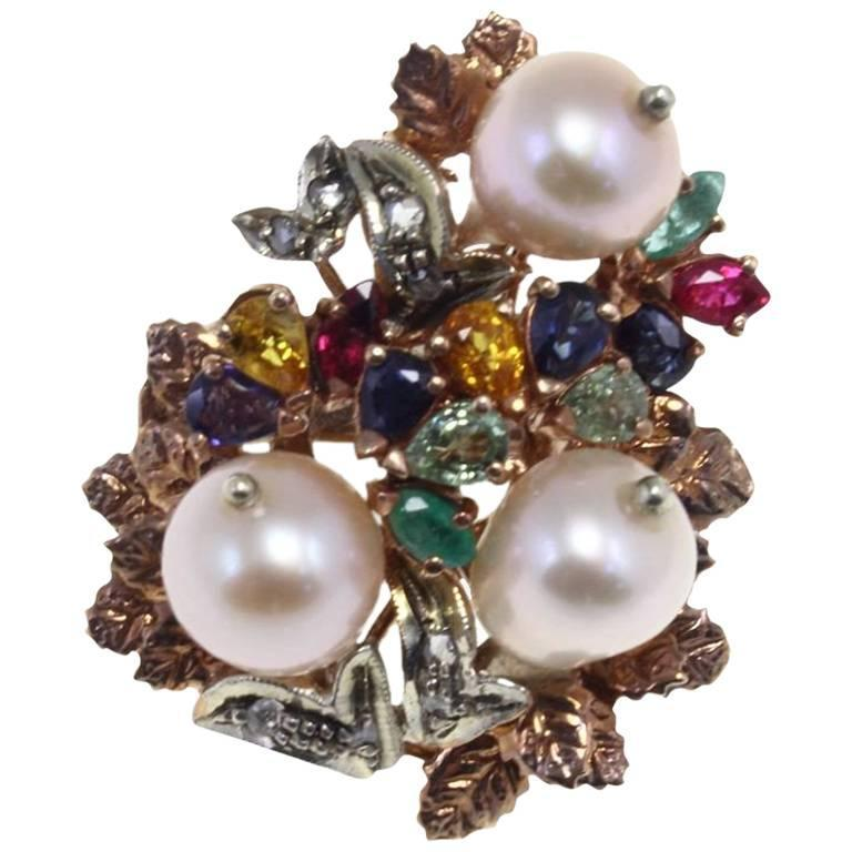 Ruby Sapphire Topaz Pearl Diamond Silver Gold Cluster Ring