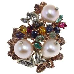 Luise Ruby Sapphire Topaz Pearl Diamond Silver Gold Cluster Ring