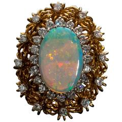 Opal and Diamond Vintage Gold Ring