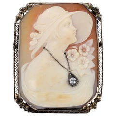 14K White Gold, Cameo and Diamond Brooch, c1920's