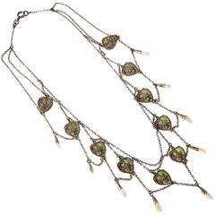 French Art Nouveau Silver and Plique-à-Jour Enamel Festoon Necklace
