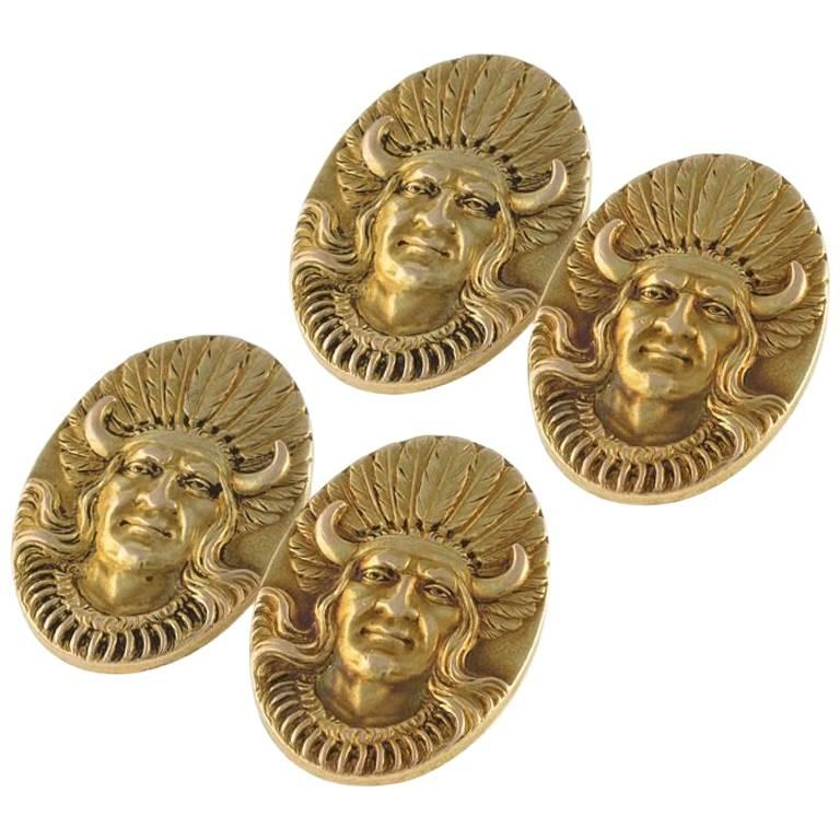 Antique Gold American Indian Chief Cuff Links For Sale