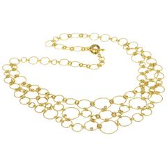 Roberto Coin Stunning Diamond Gold Circle Link Statement Necklace