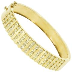 6.80 Carat Fancy Light Yellow Diamond Gold Channel Set Bangle Bracelet