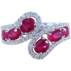 Ruby Diamond Gold Bypass Ring