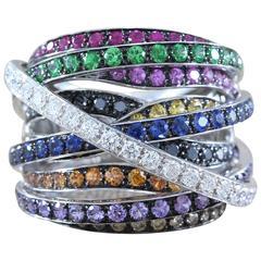 Tsavorite Multicolored Gemstone Ruby Sapphire Diamond Gold Ring