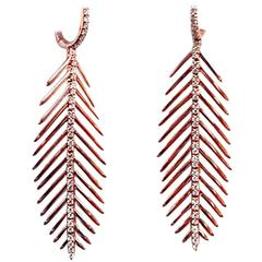 Diamond Rose Gold Feather Earrings