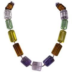 One off Statement Amethyst Lemon and Beer Quartz Gold Necklace