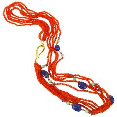 Tanzanite Chrysophrase Carnelian Gold Necklace
