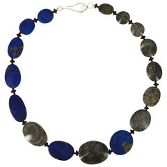 Bryozoan Fossil Coral Lapis Lazuli Onyx Silver Necklace