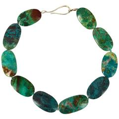 Natural Large Chrysocolla Silver Necklace