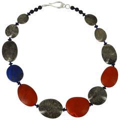 Bryozoan Fossil Coral Red Jasper Lapis Lazuli Onyx Silver Necklace