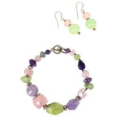 Amethyst Rose Quartz Prehnite Silver Earrings and Bracelet