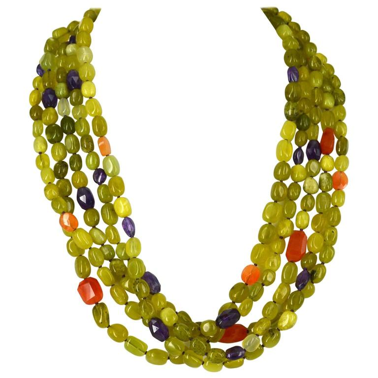 Five Strand Korean Jade Amethyst Carnelian Gold Necklace