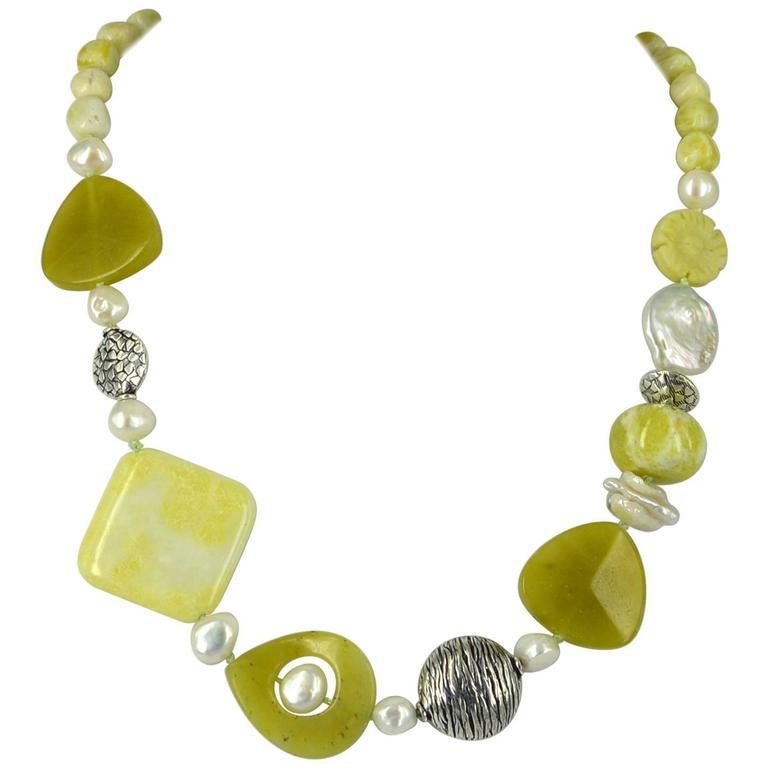Jade Pearl Silver Necklace