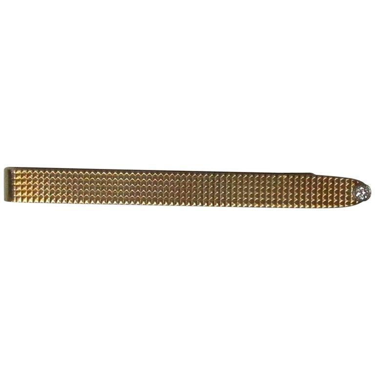 Tiffany & Co. Diamond Gold Platinum Tie Clip