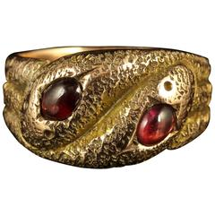 Art Deco Gold Snake Ring Cabochon Garnet, 1920