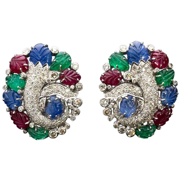collections diamond vine to copy categoryearringsby back gem schepps earrings seaman sapphire ruby gemstone by emerald