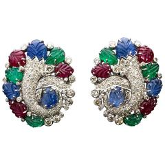 Giansanti, Rome-Floral Ruby, Emerald, Blue Sapphire, Diamond Gold Earrings