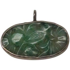 Art Deco Carved Jade Sterling Silver Pendant
