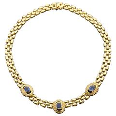 Blue Sapphire and Diamond Gold Necklace