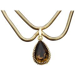 Smoky Quartz Gold Necklace, 1950s, Castellarin Bruno