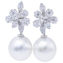 South Sea Pearl Diamond White Gold Fancy Cluster Earrings